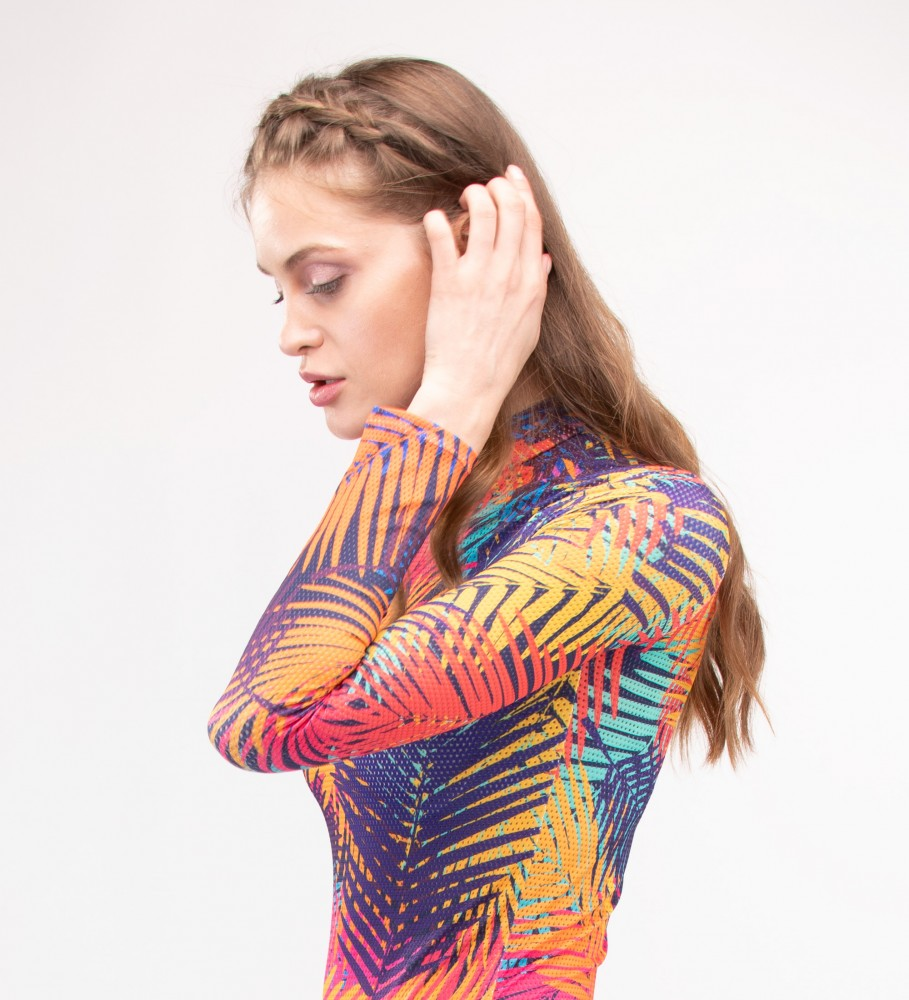Mr. Gugu & Miss Go, Colorful Palm Turtleneck Bodysuit Imagen $i