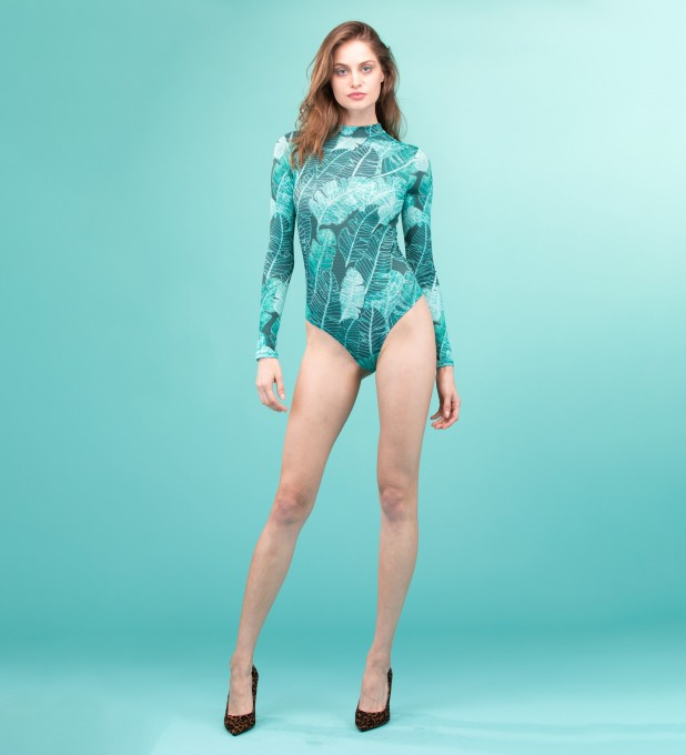 Tropical Leaves Turtleneck Bodysuit Miniaturbild 1