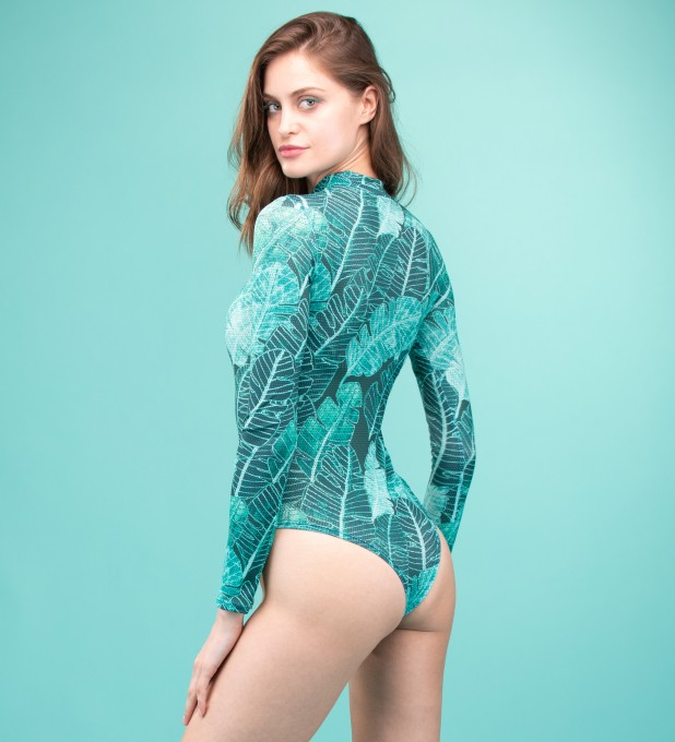 Tropical Leaves Turtleneck Bodysuit Miniaturbild 2