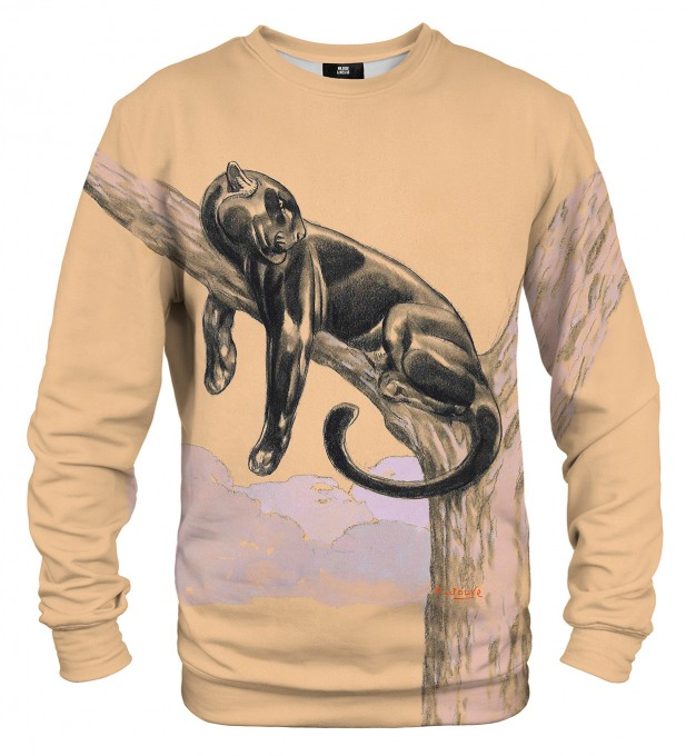 Black panthere lying on a branch sweatshirt Miniaturbild 1