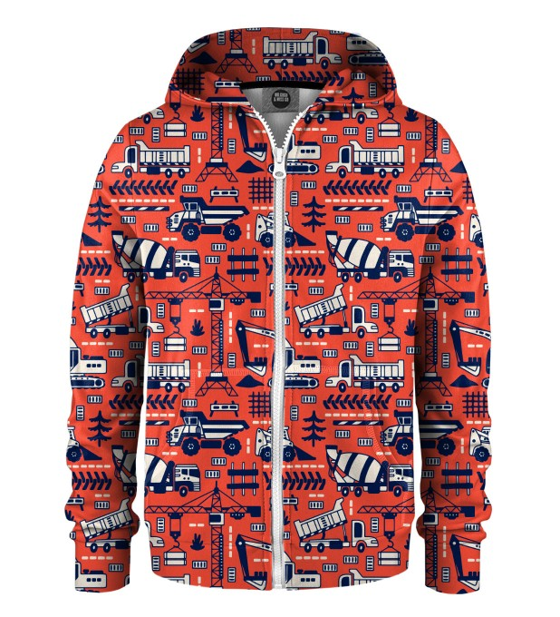 Trucks Orange Pattern Kids Zip Up Hoodie Miniature 1