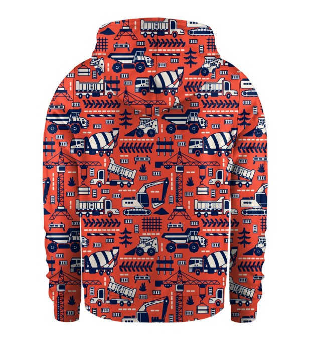 Trucks Orange Pattern Kids Zip Up Hoodie Miniature 2