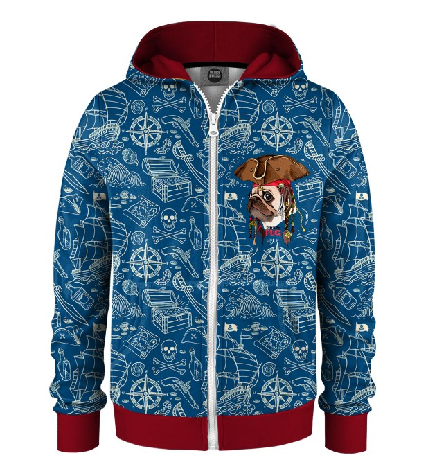 Pirate Pug Kids Zip Up Hoodie Miniature 1