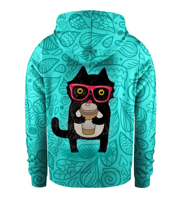 Coffee Cat Kids Zip Up Hoodie Miniatura 2