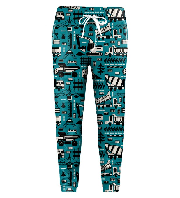 Trucks Green Pattern Kids Sweatpants Thumbnail 1