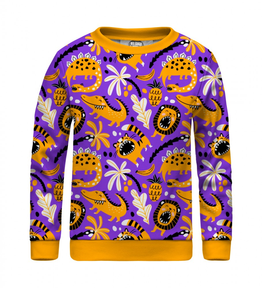 Mr. Gugu & Miss Go, Dino Pattern sweater for kids Image $i