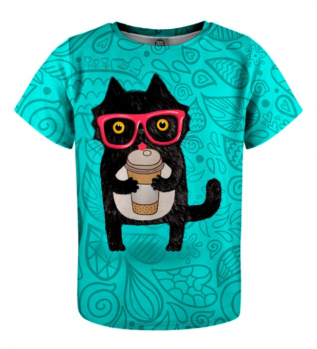 Coffee Cat t-shirt for kids Thumbnail 1