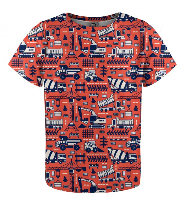 Trucks Orange Pattern t-shirt for kids Miniatura 1