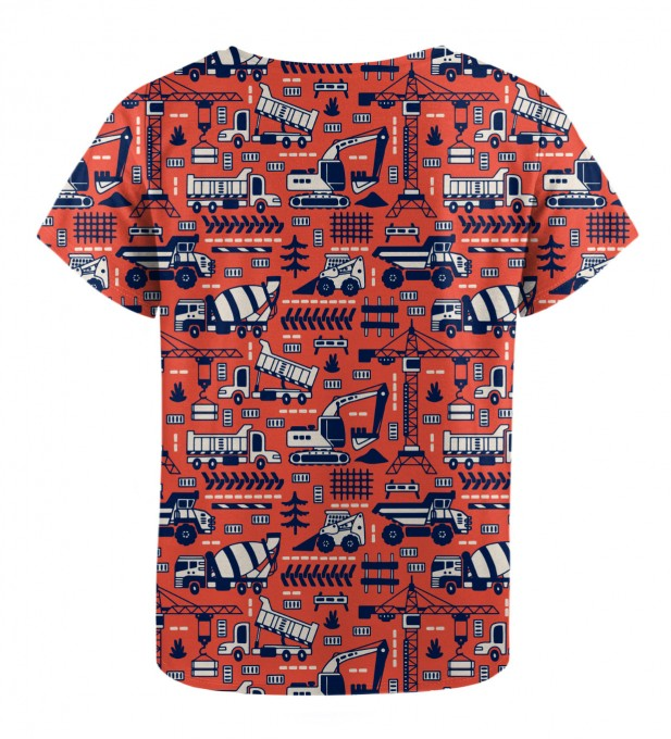 Trucks Orange Pattern t-shirt for kids Miniatura 2