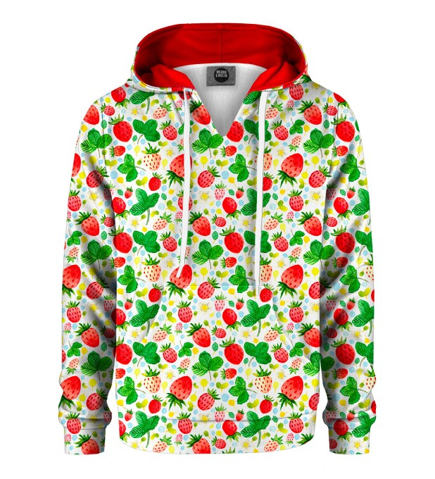 Strawberries Pattern Kids Hoodie Miniature 1