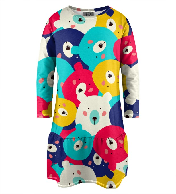 Colorful Bears Longsleevess dress for kids аватар 1
