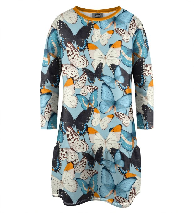Blue Butterflies Longsleevess dress for kids Thumbnail 1