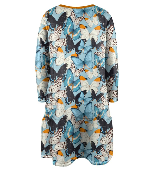 Blue Butterflies Longsleevess dress for kids Thumbnail 2