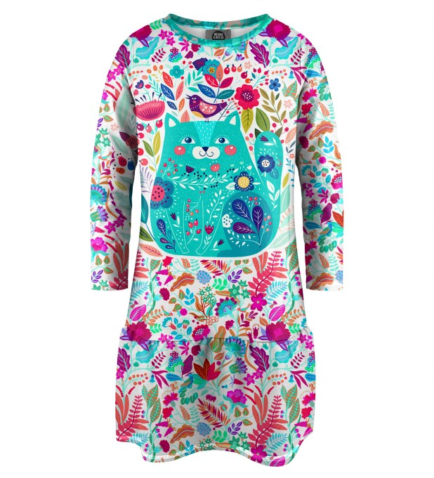 Flower Cat Longsleevess dress for kids Miniature 1