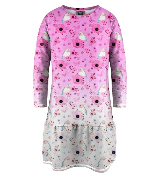 Robin Pattern Longsleevess dress for kids Miniature 1