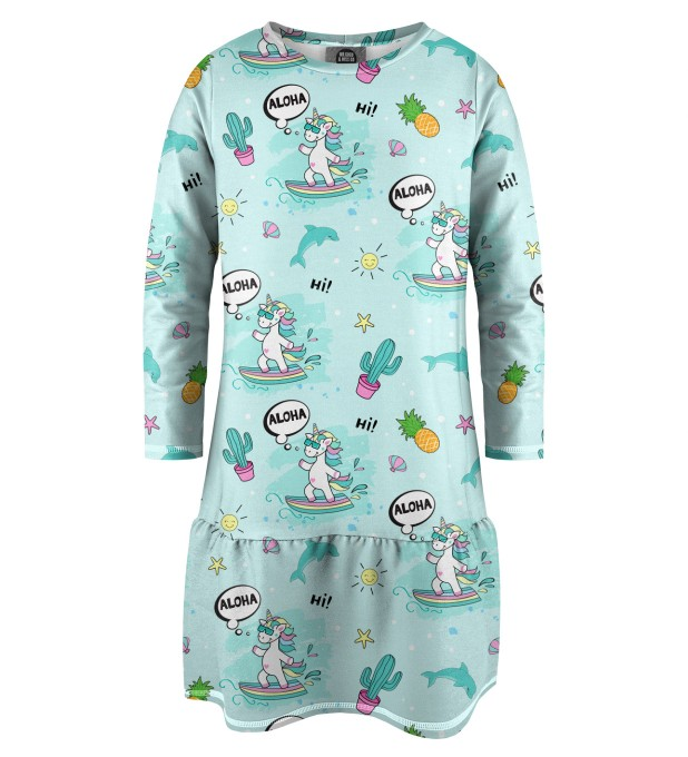 Surfing Unicorn Kinder Langarmkleid Miniaturbild 1