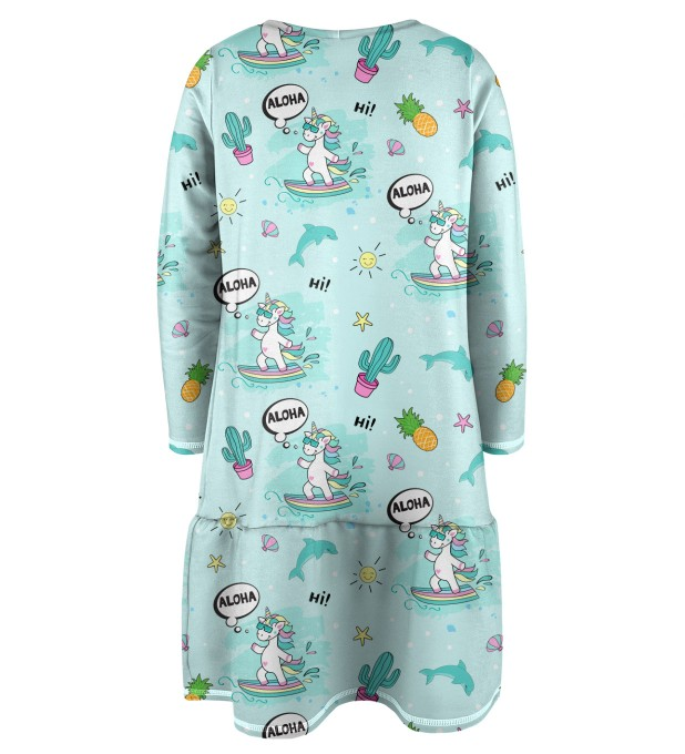 Surfing Unicorn Kinder Langarmkleid Miniaturbild 2