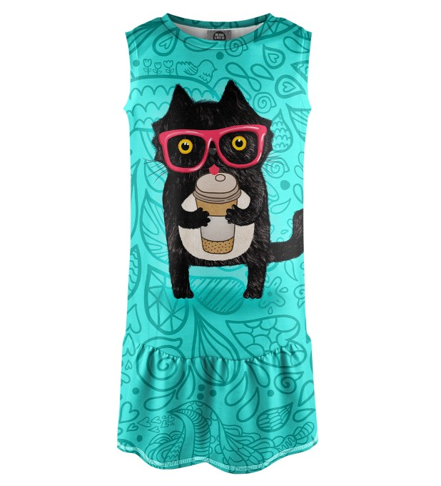 Coffee Cat Sleeveless dress for kids Miniature 1