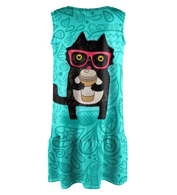 Coffee Cat Sleeveless dress for kids Miniature 2