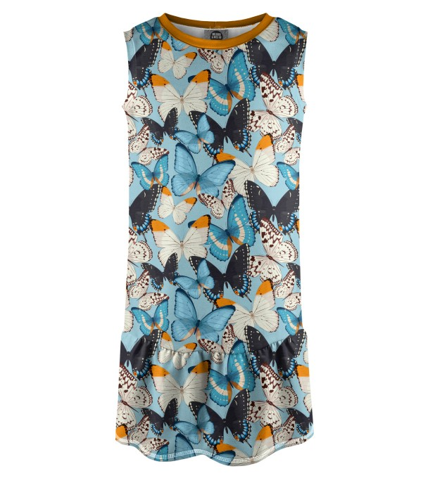 Blue Butterflies Sleeveless dress for kids Miniature 1