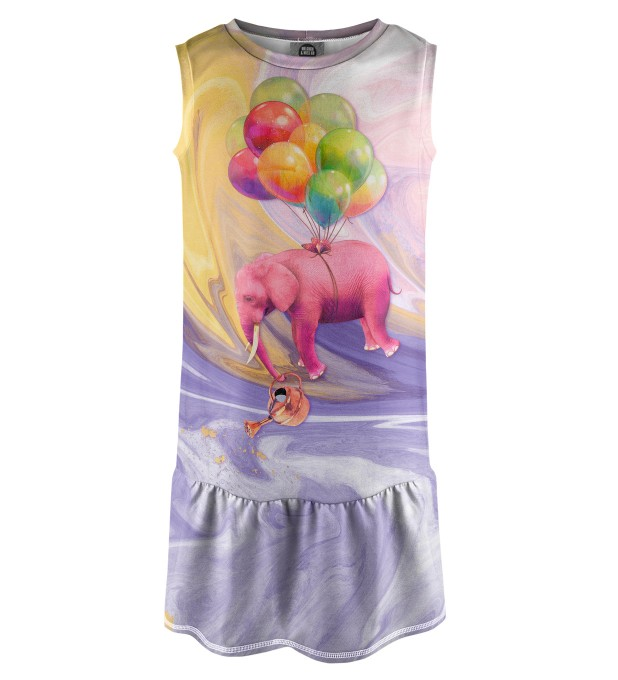 Elephant Balloons Sleeveless dress for kids Miniature 1