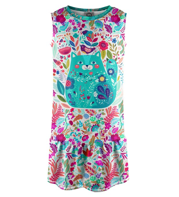 Flower Cat Sleeveless dress for kids Miniature 1