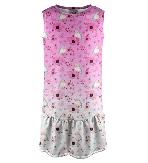 Robin Pattern Sleeveless dress for kids Miniature 1
