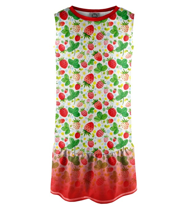 Strawberries Pattern Sleeveless dress for kids Miniature 1