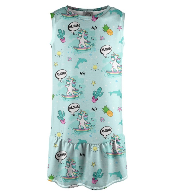 Surfing Unicorn Sleeveless dress for kids Miniature 1