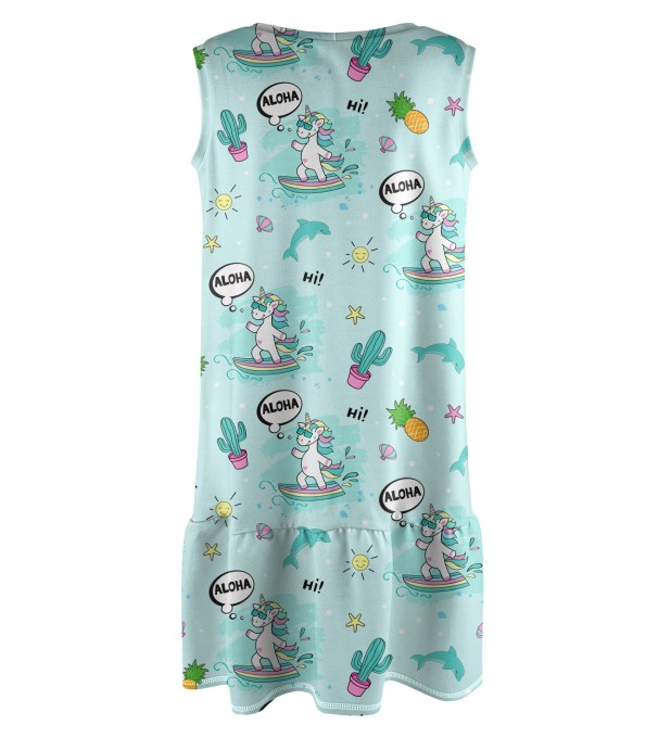 Surfing Unicorn Sleeveless dress for kids Miniature 2