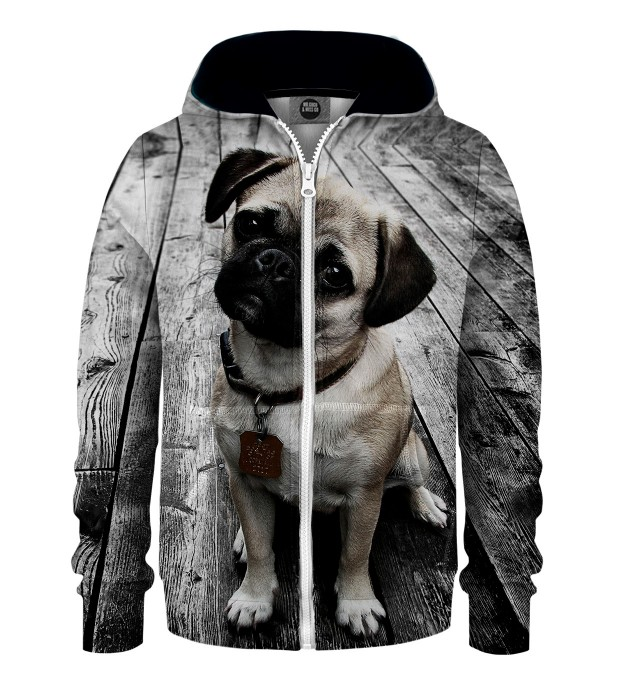 Pug Kids Zip Up Hoodie Miniature 1
