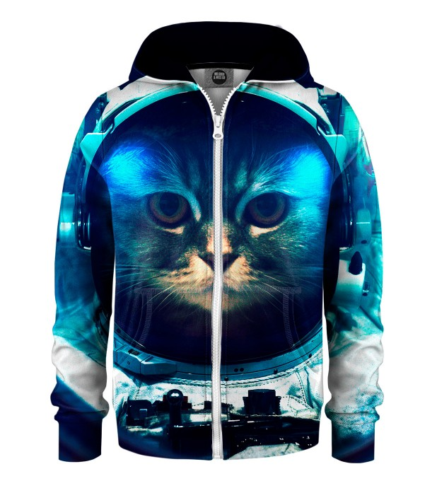 Space Cat Kids Zip Up Hoodie Miniature 1