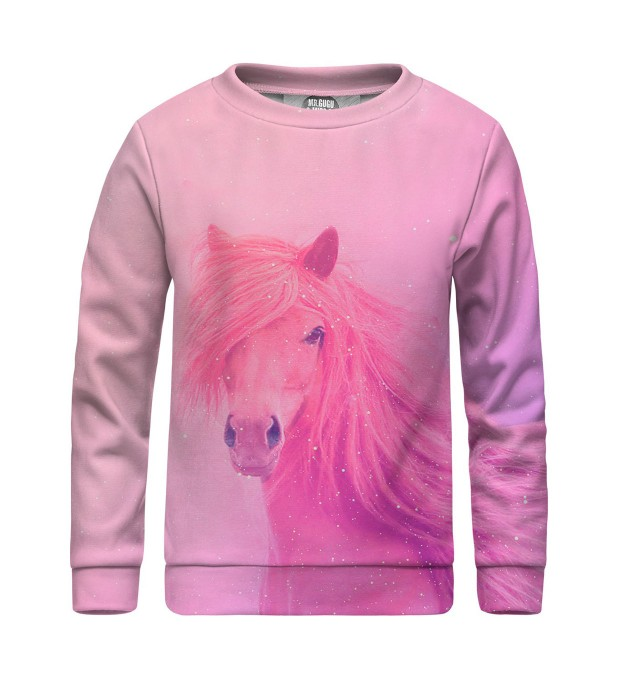 Pink horse sweater for kids Miniature 1