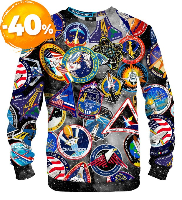 Black Nasa Stickers sweater Thumbnail 1