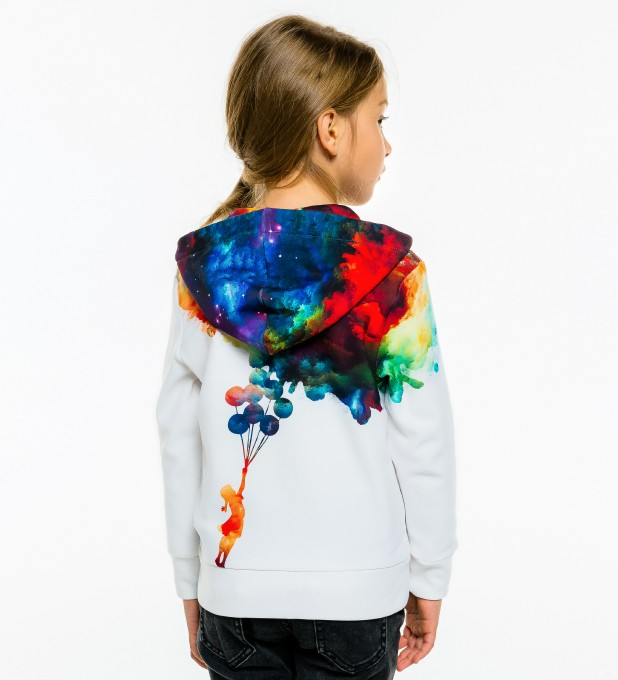 With balloons to galaxy Kids Zip Up Hoodie Miniatura 2