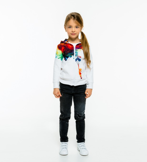 With balloons to galaxy Kids Zip Up Hoodie Miniatura 1