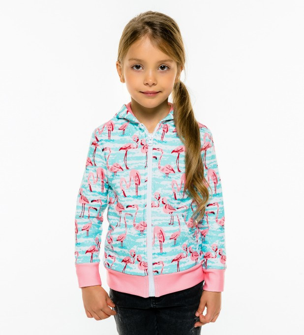 Flamingo Pattern Kids Zip Up Hoodie Miniature 1