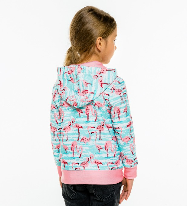 Flamingo Pattern Kids Zip Up Hoodie Miniature 2