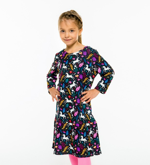 Folk Unicorn Longsleevess dress for kids Thumbnail 1