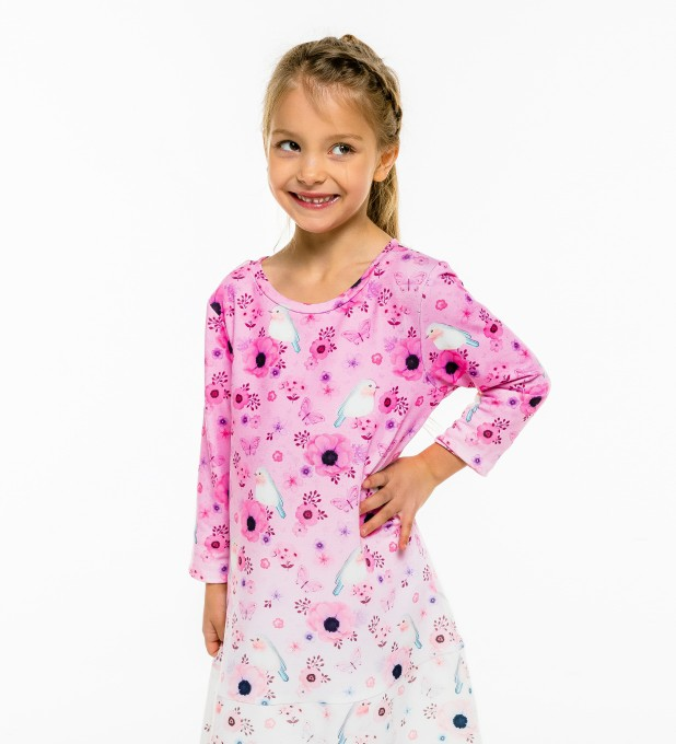 Robin Pattern Longsleevess dress for kids Thumbnail 1