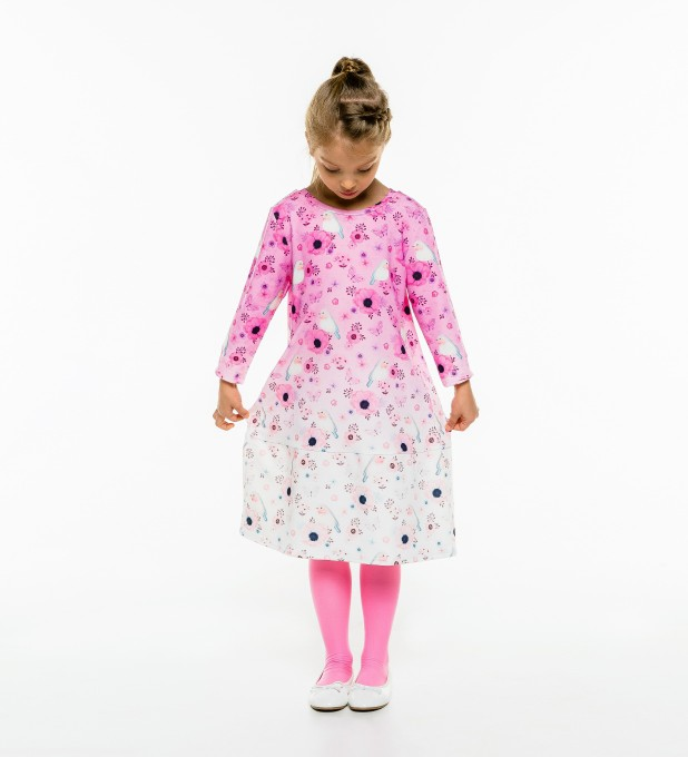 Robin Pattern Longsleevess dress for kids Thumbnail 2