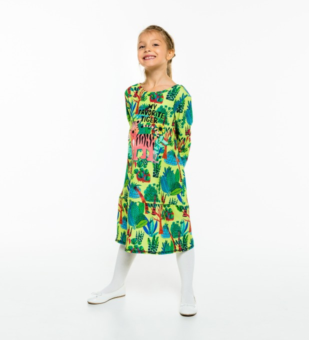 Cartoon Tiger Longsleevess dress for kids Thumbnail 2