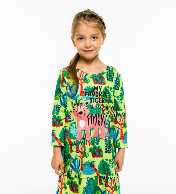 Cartoon Tiger Longsleevess dress for kids Thumbnail 1