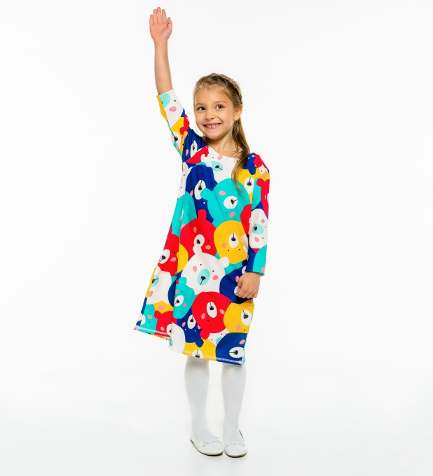 Colorful Bears Longsleevess dress for kids Thumbnail 1