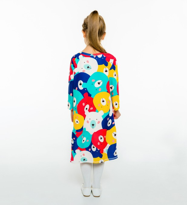 Colorful Bears Longsleevess dress for kids Thumbnail 2