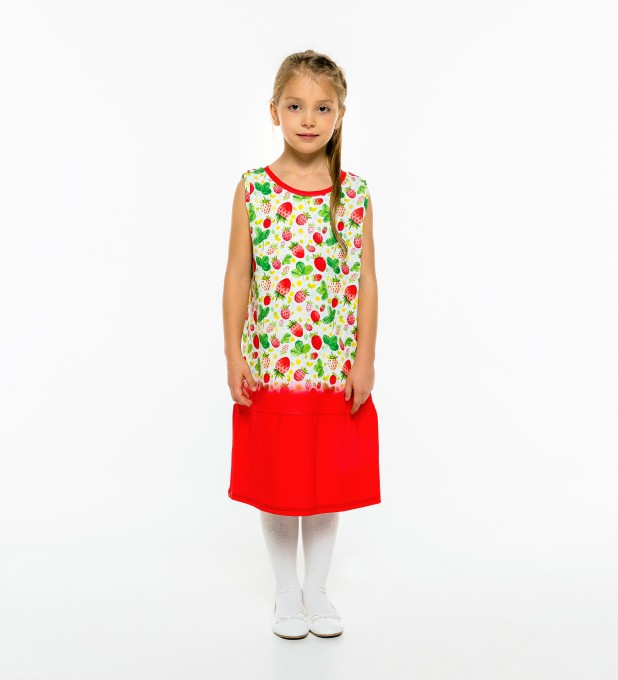 Strawberries Pattern Sleeveless dress for kids Thumbnail 1