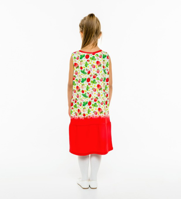Strawberries Pattern Sleeveless dress for kids Thumbnail 2