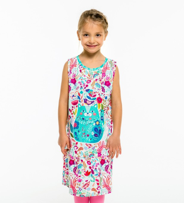 Flower Cat Sleeveless dress for kids Thumbnail 1