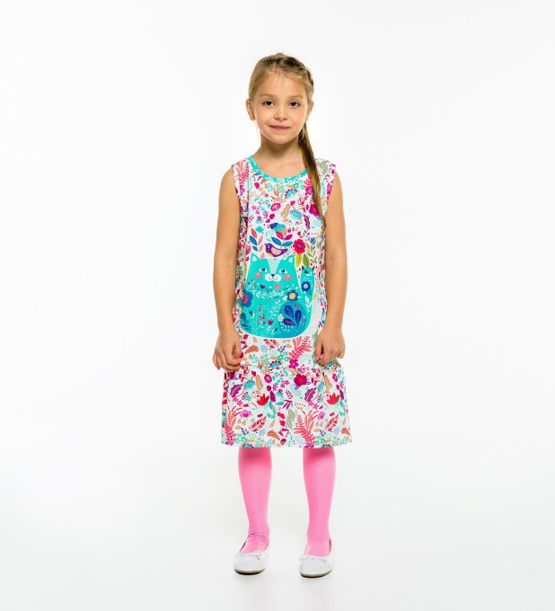 Flower Cat Sleeveless dress for kids Thumbnail 2
