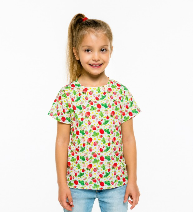 Strawberries Pattern t-shirt for kids Miniature 1